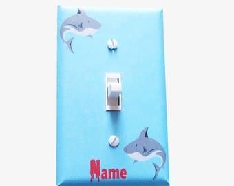 Kids bathroom shark light switch cover / Boys bedroom decor / Shark week