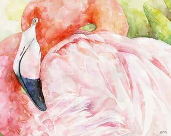 "Flamingo Painting - Print from Original Watercolor Painting, ""Queen of Hearts"", Pink Flamingo, Flamingo Print, Bird, Tropical"