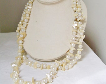 "Vintage 1960s MOTHER of PEARL NECKLACE Multi-Strand Statement Faux Pearl 25-28"" Japan"