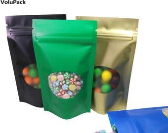 8.5x14CM Matte Blue/ Gold/ Green/ Black Zip Lock Bag Aluminium Foil Mylar Stand Up Zipper Pouch W/ Oval Window