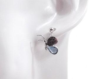 Women's earrings, girl's earrings, gold earrings, 18 kt earrings, butterfly earrings, blue blue topaz Earrings London