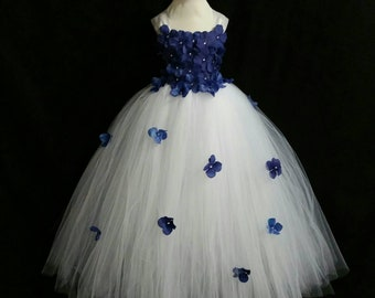 White & dark blue hydrangea flower tutu dress/ Flower girl dress(Aqua,ivory,burgundy,royal blue,lavender,yellow many colors available)