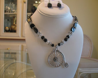 SALE !!  Bicycle Necklace and Earring Set