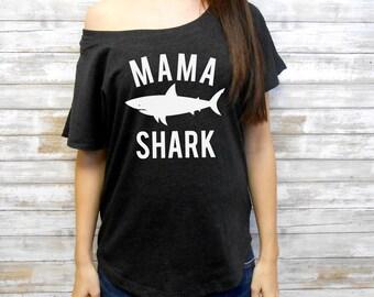 Mama Shark Flowy Tee, Flowy Off Shoulder Mom Shirt, Mom Dolman Tee, Mom Flowy Shirt, Cute Mom Shirt, Cute Mommy Shirt, Mom Life Shirt Tee