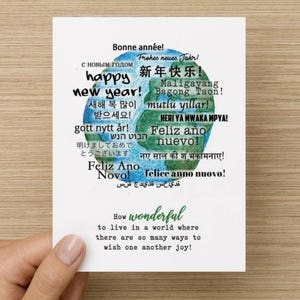 Korean new year card etsy how wonderful multi language happy new year recycled paper folded greeting card m4hsunfo