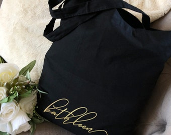 Bridesmaid Tote Bags, Gold Personalized Tote Bag, Bridal Party Tote Bags, Personalized Bridesmaid Bags, Bridesmaid Gift Bags, Rose Gold