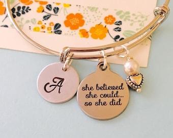 She believed she could so she did, Adjustable bracelet,  Personalized Bracelet, Inspirational Bracelet, Monogram Bracelet