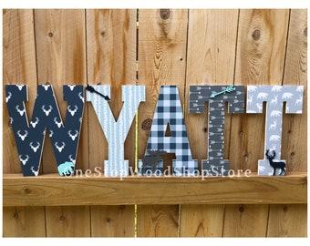 Woodland trail, Lumberjack nursery, lumberjack letters, woodland nursery, lumberjackdecor, deer letters, deer, moose, woodland animals