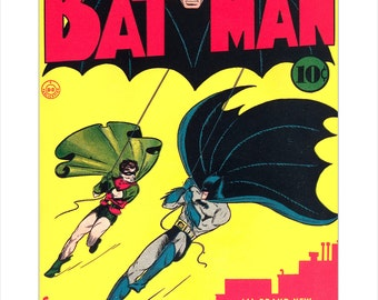 Batman #1 - DC Comics  - First Full Batman issue Cover print - Batman and Robin poster - DC Comic book art poster - Bob Kane artwork