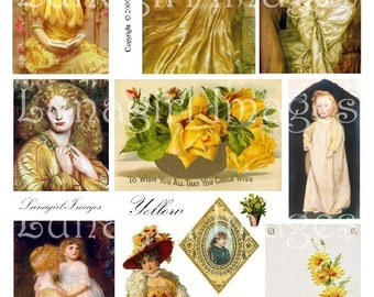 VINTAGE YELLOW digital collage sheet, Victorian art cards, women ladies girls Roses flowers, Autumn golden, altered art ephemera DOWNLOAD