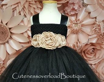 Black Wedding Tutu-Black Wedding Tutu-Black Girl Tutu-Black Tutu Dress-Black Flower Girl Tutu Dress-Black Girl Tutu-Black Halloween Tutu