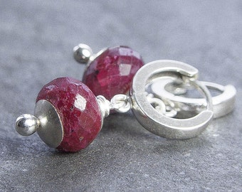 Raw Ruby Earrings. Hoop Earrings. Sterling Silver Earrings. July Birthstone. Red Ruby Jewelry. Birthstone Jewelry. Women. Gift Under 100