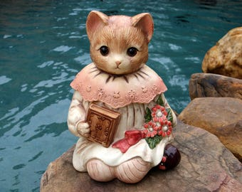 Cat Cookie Jar - Cat Kitchen Decor - Ginger Cat Cookie Jar - Cat Lover Gift - Cat Figurine - Emily Cat Cookie Jar - Live in Moment Vintage