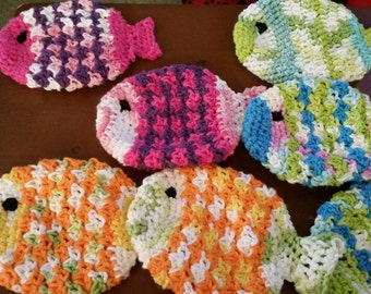 Washcloth, fish, kitchen washclothe, handmade, cotton, decoration, kitchen scrubbie, scrubber, cotton fish, washcloth, tawashi, natural