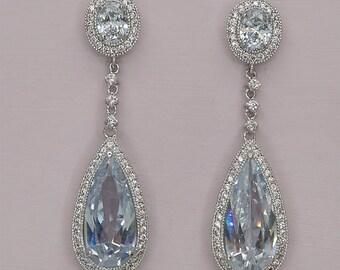 30% Off Sale Long Bridal Earrings Crystal Wedding Earrings Teardrop Bridal Earrings Cubic Zirconia Wedding Earrings Tear Drop Earrings for B