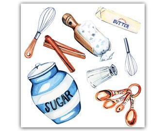 Baking ingredients art print, food art, kitchen art, watercolor print, kitchen illustration