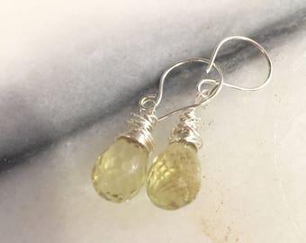 Lemon Quartz Briolette Teardrop and Sterling Silver Dangle Earrings   Gemstone Earrings   Lemon Drops   Wire Wrapped Briolette