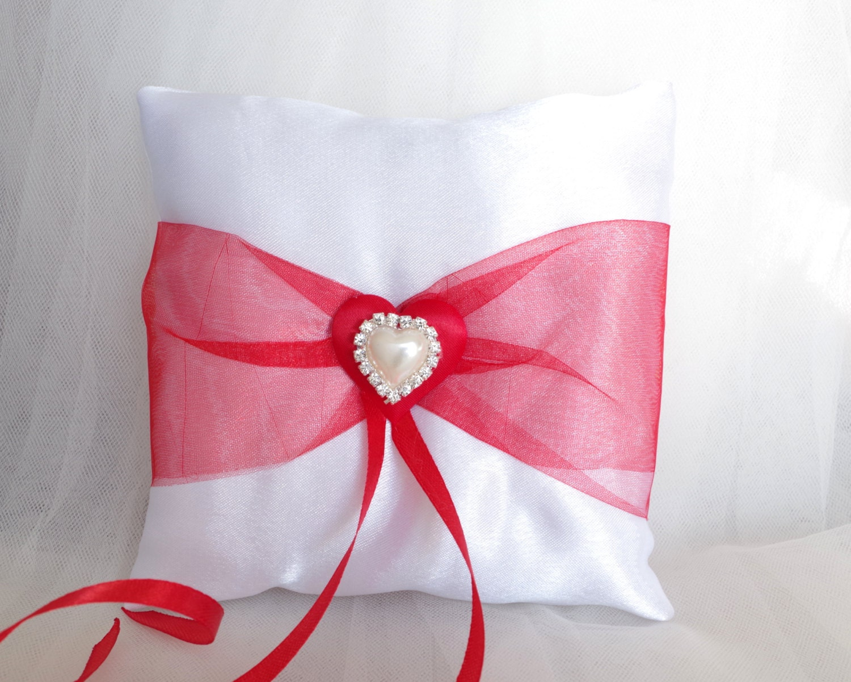 Wedding Red Ivory Satin Ring Bearer Pillow Red Ring Bearer