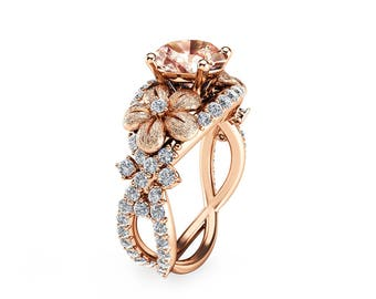 14K Rose Gold Morganite Engagement Ring Rose Gold Engagement Ring Morganite Engagement Ring Unique Engagement Ring