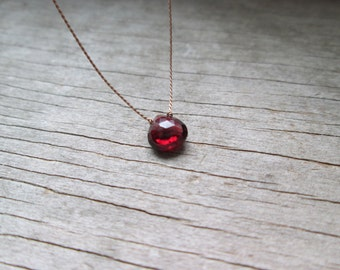 small GARNET floating stone necklace on a fine silk cord minimalist gemstone necklace January birthstone healing stone