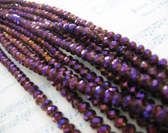1 Strand Deep Violet - Golden Vitrail - 6 mm Crystal Cushion Beads