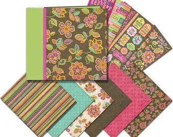 K&CO PINK and BROWN Flowers Mega Scrapbook Scrapbooking Kit