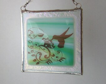 Hummingbird Fused Glass Suncatcher Light Catcher Aqua