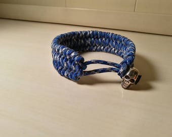 Adjustable Paracord Survival Bracelet With Skull-Arctic Camouflage-Large