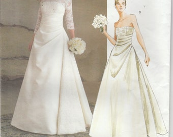 Wedding Dress Pattern Lined Floor Length Front Drape Prom Misses Size 18 - 20 - 22 Vogue 2842 Bridal Original