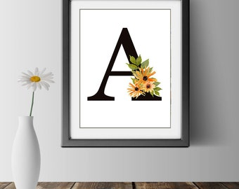 Wildflower Bouquet Monogram Letter Art Print Floral Decor Wall Art Minimal Initial Letters Ready to Frame Art Prints 8.5 x 11 Wall Prints