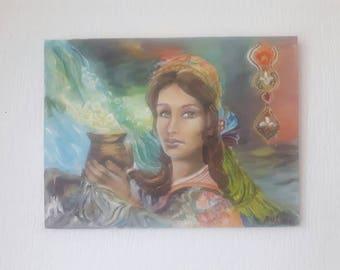 Original acrylic painting, portrait painting, original portrait, woman painting, small painting, original wall art