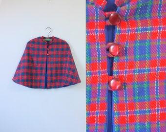 WINTER SALE 30% OFF! vintage kid's cape | plaid cape | red plaid cape | vintage 70s plaid cape | kid's cape | kid's poncho | plaid poncho