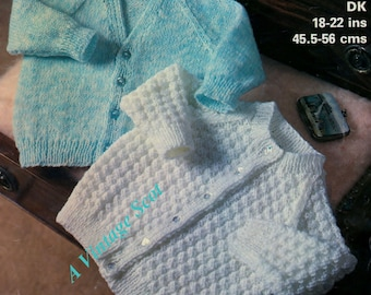 Baby / Toddler Cardigans 2 stles in Dk 8ply Light Worsted  18-22  ins - Marriner 1823  -  PDF of Vintage Knitting Patterns