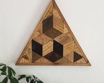 Triangle 001   Reclaimed Wood Wall Art   Geometric Wall Art   Home Decor   Woodworking   Boho Style Wall Art   Lath Art   Lath Woodworking