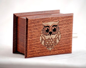 Owl decor custom music box own individual optional music