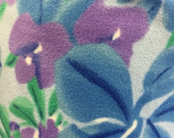 Blue Acacia and Violet Flower Printed Fleece Fabric - By the Yard