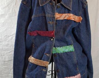 Repurposed denim jacket using neckties