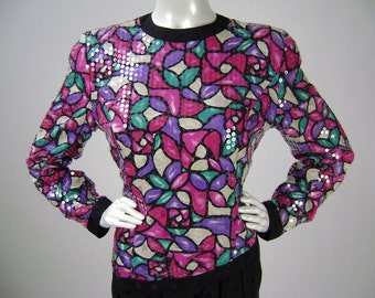 """Vintage 80s Dress, Pink Green Black, Silk, Stained Glass, Sequinned, Long Sleeve, Cocktail Dress, Annie Crimmons, B 42"""" W 36"""", New Old Stock"""