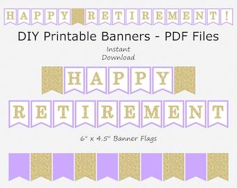 Happy Retirement Banner - Light Purple & Gold Glitter - PRINTABLE - INSTANT DOWNLOAD