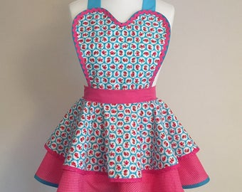1950s style retro apron pinny in turquoise and pink vintage rose print and pink polka dot fabric