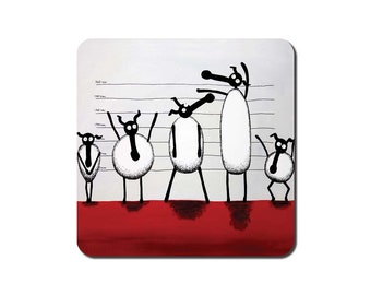 The Un-ewe-sual Suspects Coaster - quirky sheep art painting gift