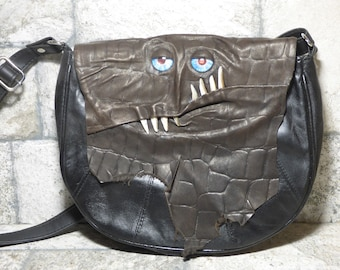 Cross Body Adjustable Purse With Face Monster Black Leather Unique Gift 450