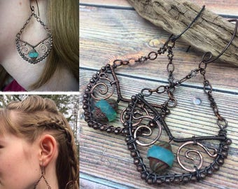 Queen Lagertha Viking Dangle Earrings with Czech Glass, Copper, Wire Wrapped, FREE Shipping,Ready to Ship