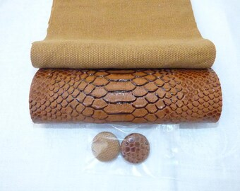 FAUX LEATHER PYTHON BROWN FABRIC AND FAUX BUTTON 1 AND 1 CLOTH