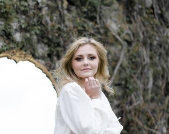 Beaded Silk Blouse- WHITE, MED. Button Blouse / Hand Beaded Vintage Long Sleeve Blouse White Button Back Top Billowy Blouse - White on White