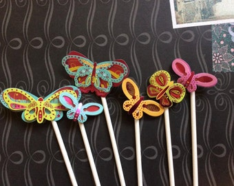 12 Bright and Detailed Butterfly Cupcake toppers