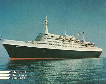 Vintage 1980s Postcard SS Rotterdam Holland America Cruise Ship WestCord Hotel Netherlands Scenic Ocean View Photochrome Era Postally Unused