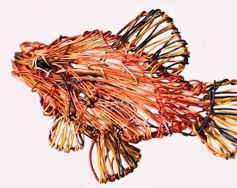 Fish brooch, wire sculpture art, beach tropical jewelry, sea ocean jewelry, orange yellow, cute pin, modern hippie, birthday gift women