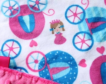 Minky Lovey Blanket Princess Carriage Print Minky with Hot Pink, Turquoise or Peacock Dimple Dot Minky Backing - great for a new baby