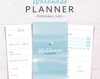 Wellness Planner   PERSONAL SIZE • Health & Fitness • Wellbeing Planner • Health Journal • Workout Planner • Printable Inserts